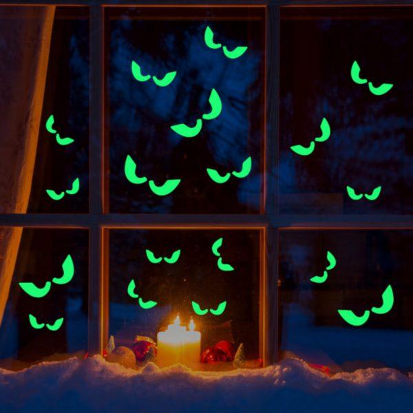 Sticker fosforescent glow in the dark Spooky Eyes autocolant decorativ de perete si fereastra