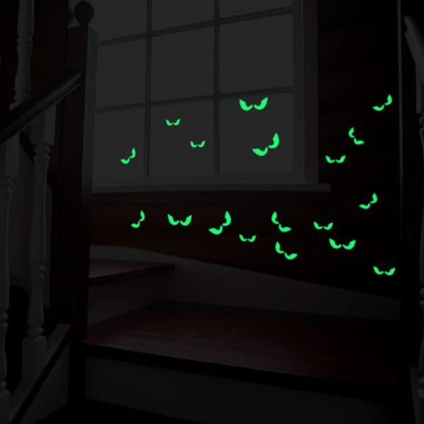 Sticker fosforescent glow in the dark Spooky Eyes autocolant decorativ de fereastra și perete