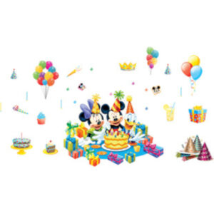 Sticker decorativ Giftify Happy Party cu Mickey Mouse si personaje Disney