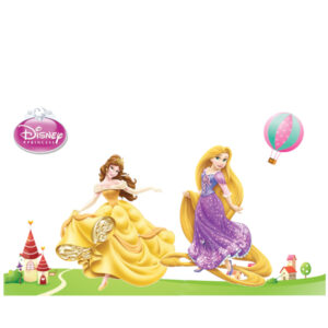 Sticker decorativ Giftify Printese Belle si Rapunzel cu 2 printese Disney