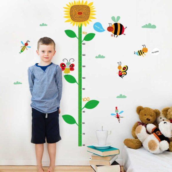 Sticker decorativ masurat inaltime Giftify Metru Floarea Soarelui cu albinute