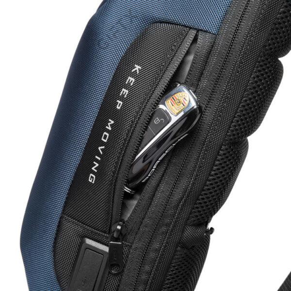 Rucsac antifurt smart GIFTX Ergo Albastru, cross-body, impermeabil, cu USB si cifru