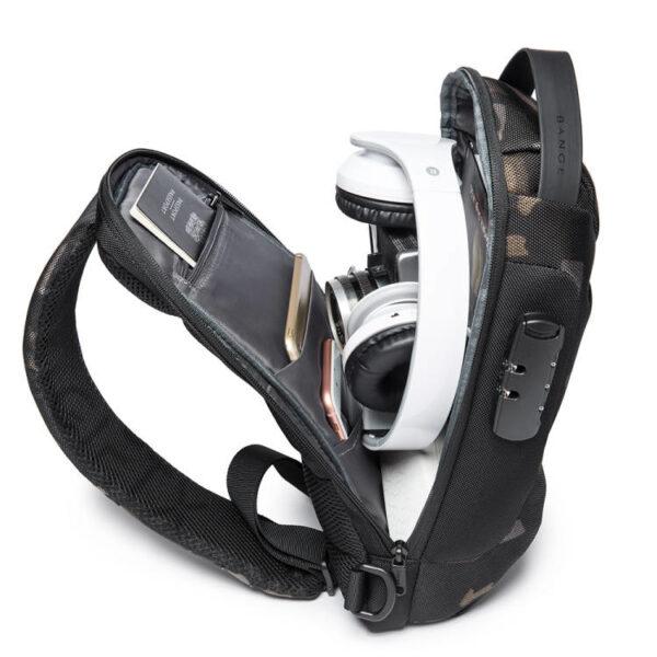 Rucsac antifurt smart GIFTX Ergo Camuflaj, cross-body, impermeabil, cu USB si cifru