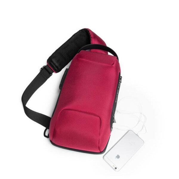 Rucsac antifurt smart GIFTX Ergo Rosu, cross-body, impermeabil, cu USB si cifru