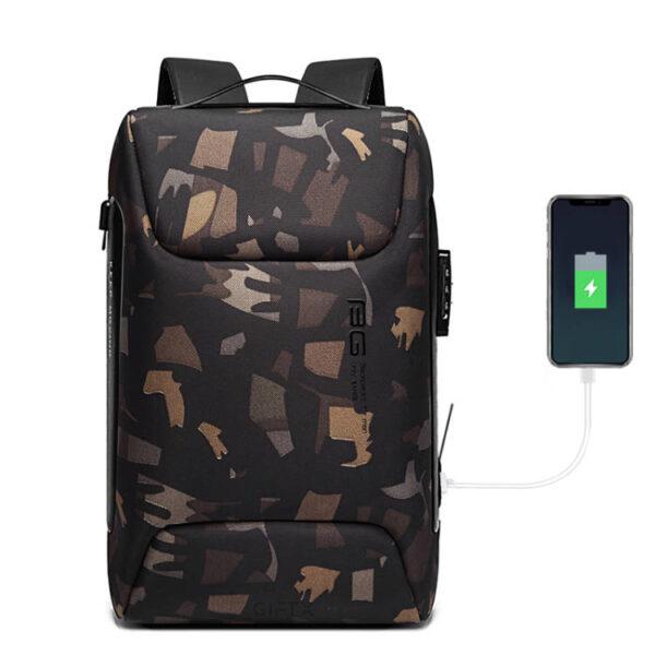 Rucsac antifurt smart GIFTX Urbio Camuflaj, impermeabil, cu USB si cifru